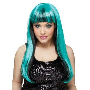 Black and Neon Green Women's Wig