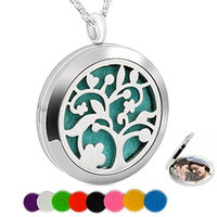 Essential Oil Necklace Fragrance Aromatherapy Diffuser Refill Pads Tree of Life Photo Locket Pendant