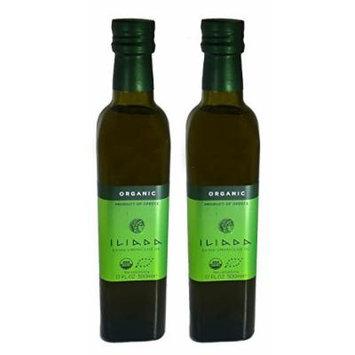 Iliada Organic Greek Extra Virgin Olive Oil First Cold Press NON GMO - Kosher - 500ML - 2 Pack