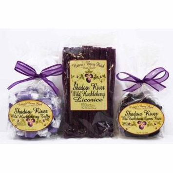 Shadow River Wild Huckleberry Candy Sampler (Licorice, Taffy, Gummi Bears)