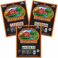 Buffalo Bills Country Cut 3oz Tangy & Sweet Beef Jerky Sampler 3-Pack (moist & tender beef jerky)