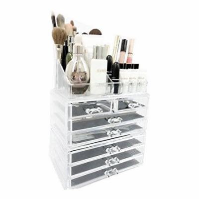 Unique Home Makeup Cosmetic Organizer Conceal/Lipstick/Eyeshadow/Brushes in One place Storage Drawers, Clear, Large, 3 Piece Set