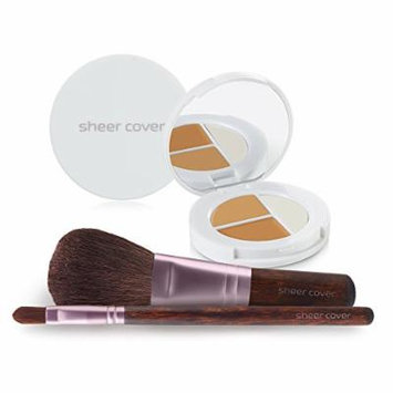 Sheer Cover Studio – Starter Face Kit – Perfect Shade Mineral Foundation – Conceal & Brighten Highlight Trio – with FREE Foundation Brush and Concealer Brush – Tan Shade – 30 Day Supply/4 Pieces