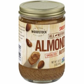 Woodstock Smooth Unsalted Almond Butter, 16 oz, (Pack of 12)