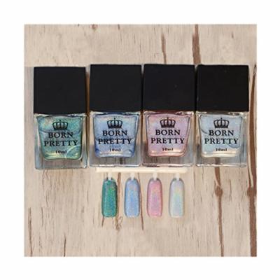 Born Pretty 4 Bottles 10ml Holographic Holo Glitter Super Shine Nail Art Polish H002/5/6/8