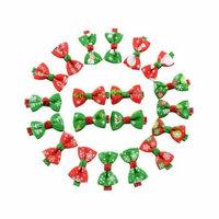 20 Pieces Girl Christmas Holiday Gift Snowflake Ribbon Hair Bows Clip Girl Hairpin