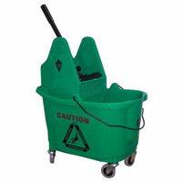 Tough Guy 5CJK3 Green Polypropylene 12 to 32 oz. Mop Bucket and Wringer