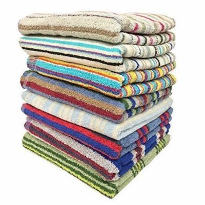 Ruthy's Textile 3PK Cotton Bath Towels, Assorted Striped Colors