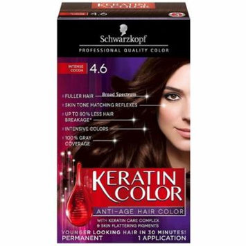 Schwarzkopf Keratin Color Anti-Age Hair Color, Intense Cocoa [4.6] 1 ea (Pack of 4)