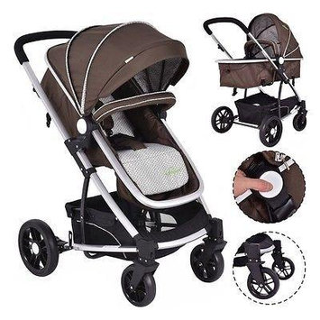 2 In1 Foldable Baby Stroller Kids Travel Newborn Infant Buggy Pushchair Coffee