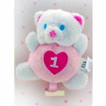 1st Birthday Pink Bear Pacifier Holder (1ct)