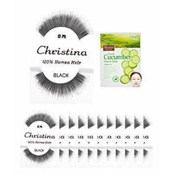 12packs Eyelashes - #76 Christina 100% Human Hair Fake Eyelashes