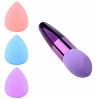 Zodaca Beauty Makeup Sponge Blender Flawless Smooth Round Shaped Powder Puff Purple+3x Sponge Blender Flawless Droplets