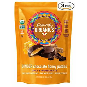 Heavenly Organics Ginger Chocolate Honey Patties (3 Bags) Made with 100% Organic Cocoa and 100% Organic Raw White Honey; Non-GMO, Fair Trade, Kosher, Dairy & Gluten Free, No Sugar Added