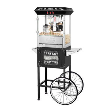 Great Northern Popcorn Company Great Northern 10 oz. Perfect Popper Machine with Cart - Black Makes 12 Quarts