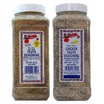 Bolner's Fiesta Fajita Seasonings 2 Flavor Bundle: Chicken Fajita and No-Salt Fajita, 30 Oz. Ea.