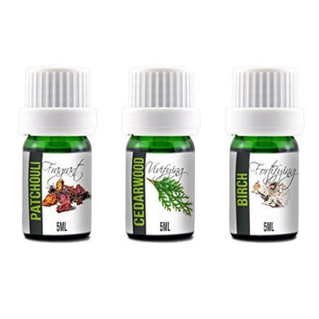 Simply Diffusers Aroma2Go 100% Pure Plant Based Essential Oils 5ML Set Birch, Patchouli, Cedarwood (Hippie Pack)