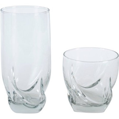 Anchor Hocking 16-Piece Swish Clear Glass Mixed Tumbler Set