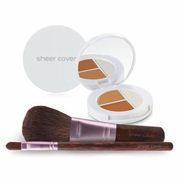 Sheer Cover Studio – Starter Face Kit – Perfect Shade Mineral Foundation – Conceal & Brighten Highlight Trio – with FREE Foundation Brush and Concealer Brush – Dark Shade – 30 Day Supply/4 Pieces