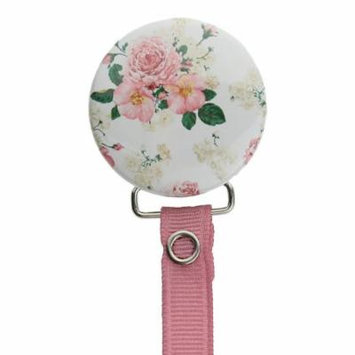 Vintage Flowers Pacifier Clip with Matching Rose Ribbon