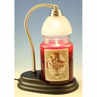 Aurora Pewter Candle Warmer Gift Set - Warmer and Courtneys 26oz Jar Candle - MAHOGANY TEAKWOOD