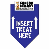 Fun Dog Bandana - Insert Treat Here - One Size Fits Most for Med to Lg Dogs, royal blue pet scarf
