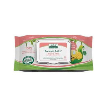 Aleva Naturals Bamboo Baby Sensitive Wipes, 72 Count - 72 Sensitive Bamboo Wipes - Biodegradable in 21 days - Eco Friendly - For Sensitive Skin - Eczema Prone Skin Or Allergic to Perfumes and Fra