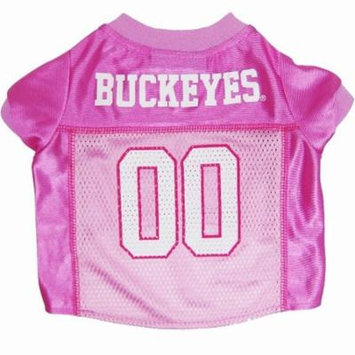 Pets First College Ohio State Buckeyes Pet Pink Jersey, 4 Sizes Available