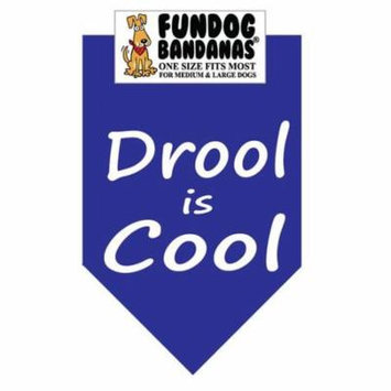 Fun Dog Bandana - Drool is Cool - One Size Fits Most for Med to Lg Dogs, royal blue pet scarf