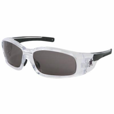 Swagger Safety Glasses, Gray Polycarbon Lenses, Clear/Black Frame