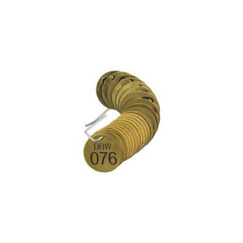 BRADY 87183 Number Tag,Brass,Series DHW 076-100,PK25 G9392171