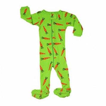 Elowel Little Girls Green Carrots Print Zipper Footed Pajama Sleeper 2-5