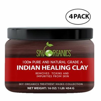 Indian Healing Clay By Sky Organics 16oz –100% Pure & Natural Bentonite Clay-Therapeutic Grade - Face Skin Care, Deep Skin Pore Cleansing, Detoxifying- Acne & Rejuvenating - Made in USA (4 Pack)