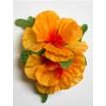 Double Hibiscus hair clip #33 light orange