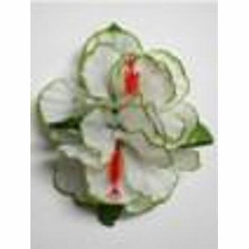 Double Hibiscus hair clip - #10 white /green