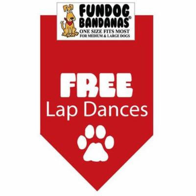 Fun Dog Bandana - FREE LAP DANCES - One Size Fits Most for Med to Lg Dogs, red pet scarf