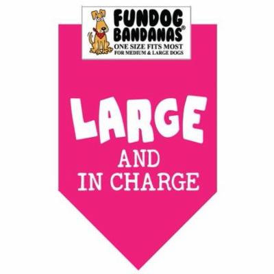 Fun Dog Bandana - LARGE & IN CHARGE - One Size Fits Most for Med to Lg Dogs, hot pink pet scarf