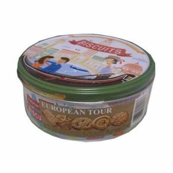 Butter Cookies, European Tour Biscuits (Jacobsens) 5.3 oz (150g) Tin