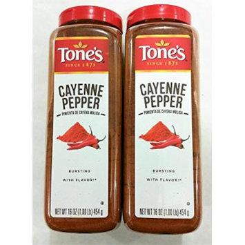 Tone's Cayenne Pepper Seasoning 2 Jars 16 oz. Each Total 32 Ounces