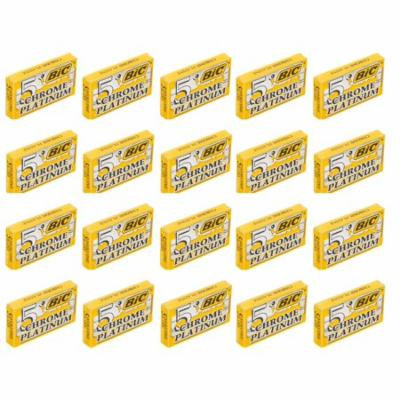 BIC Chrome Platinum Double Edge Safety Razor Blades, 100 Count
