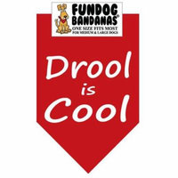 Fun Dog Bandana - Drool is Cool - One Size Fits Most for Med to Lg Dogs, red pet scarf