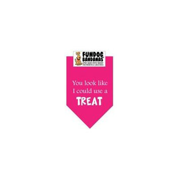 Fun Dog Bandana - You Look Like I Could Use a Treat - One Size Fits Most for Med to Lg Dogs, hot pink pet scarf