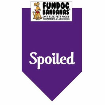 Fun Dog Bandana - SPOILED - One Size Fits Most for Med to Lg Dogs, purple pet scarf