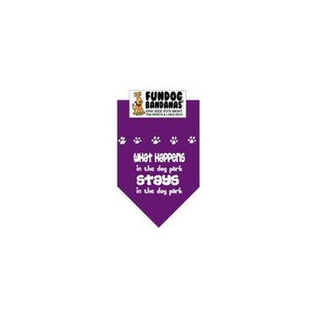 Fun Dog Bandana - What Happens in the Dog Park Stays in the Dog Park - One Size Fits Most for Med to Lg Dogs, purple pet scarf