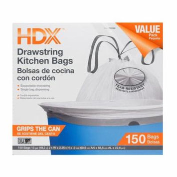 HDX White Trash Bag 13 Gal. Kitchen Drawstring Garbage Waste Liners Commercial HDX716866