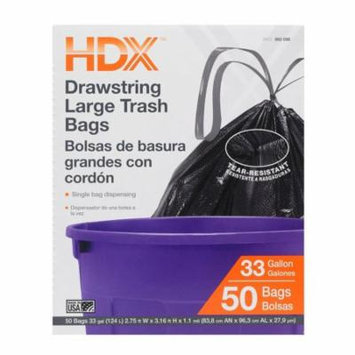 HDX Black Trash Bags 33 Gallon Large Trash Drawstring Garbage Kitchen Commercial HDX-960098