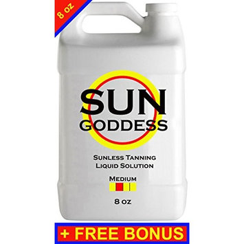 Sun Goddess - MEDIUM - 8 oz - Sunless Self Tanning liquid Solution/Spray Tan Solution + FREE BONUS: Sunless Self Spray Tanning Applicator Mitt & Gloves + 1 Sunless Self Tanning Lotion Tanner Sample