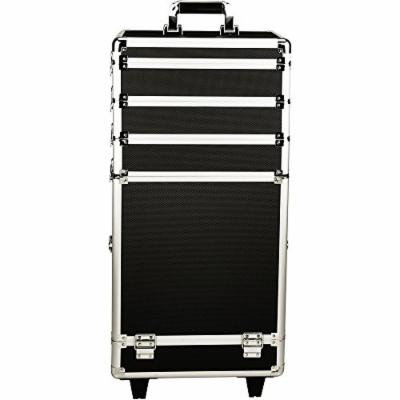 JustCase 4-in-1 Professional Rolling Aluminum Cosmetic Makeup Case and Removable Trays, Black Dot