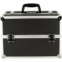 JustCase 4-Tiers Extendable Trays Professional Cosmetic Makeup Case, Black Dot