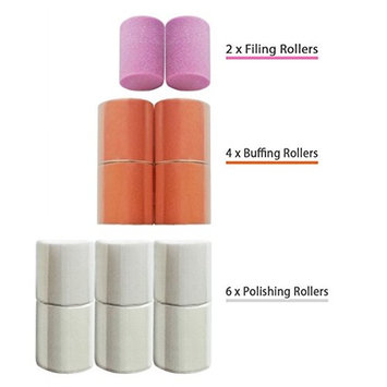 Replacement Rollers for Care me Electronic Nail Care System - 2x Coarse Filing 4x Buffing & 6x Shining Heads - A Pack of 12 Refills at a Great Value